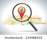 search for home on map... | Shutterstock .eps vector #124488523