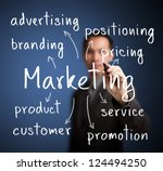 business man writing marketing concept - stock photo