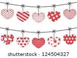 valentine red textured hearts...