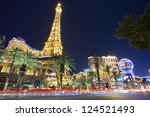 Stock photo las vegas january las vegas strip and busy traffic in front of the famous hotel paris and 124521493