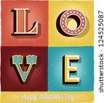 happy valentine's day hand... | Shutterstock .eps vector #124525087