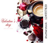 red roses, coffee  and chocolate hearts for Valentine's Day (with sample text) - stock photo