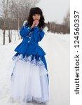 girl in vintage dress in a...   Shutterstock . vector #124560337