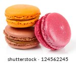 Three colorful macarons isolated on white background - stock photo