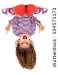 young girl upside down isolated ...   Shutterstock . vector #124571173