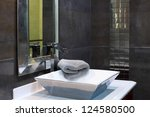 Modern bathroom interior - luxury design closeup - stock photo