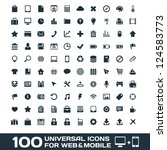 100 universal icons for web and ... | Shutterstock . vector #124583773