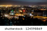 Aerial view of the city of Addis Ababa at night - stock photo