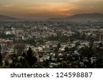 Aerial view of the city of Addis Ababa during sunset - stock photo