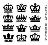 vector black crown icons set on white - stock vector