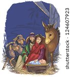 christmas nativity scene with... | Shutterstock . vector #124607923