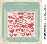 retro poster with  heart icons  ... | Shutterstock .eps vector #124632073