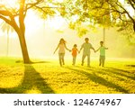 southeast asian chinese family... | Shutterstock . vector #124674967