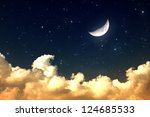 cloudy night sky with moon and... | Shutterstock . vector #124685533