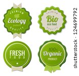 Eco Vintage Labels Bio template set. Ecology theme.  Retro logo template design. Extra High quality. 3D Vector. - stock vector