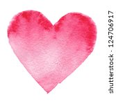 watercolor painted red heart ... | Shutterstock .eps vector #124706917