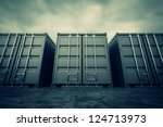 picture of grey containers in... | Shutterstock . vector #124713973