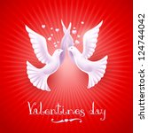 Two white doves on a red background. Vector illustration of Valentine's Day - stock vector