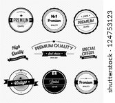 set of vintage premium quality... | Shutterstock .eps vector #124753123