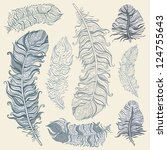 vintage feather vector set.... | Shutterstock .eps vector #124755643