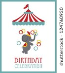 kid happy birthday card design. circus animal. vector illustration - stock vector