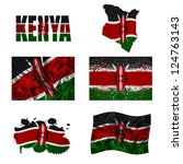 kenya flag and map in different ... | Shutterstock . vector #124763143