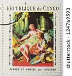 Small photo of REPUBLIC OF CONGO - CIRCA 1969: a stamp from the Republic of Congo shows a painting of Rinaldo and Armida by Boucher, circa 1969