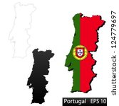 maps of portugal  3 dimensional ... | Shutterstock .eps vector #124779697
