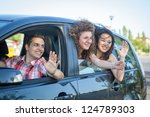 boys and girls in a car leaving ... | Shutterstock . vector #124789303