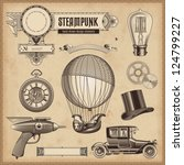 vector set  steampunk design... | Shutterstock .eps vector #124799227