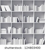 white bookshelves  (illustrated concept) - stock photo