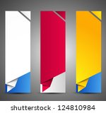 Set of origami web banners. - stock vector