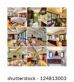 Collage of modern classic beautiful home interior. Bedroom, kitchen, fireplace, dining room, laundry, living room. Nine images in one. - stock photo