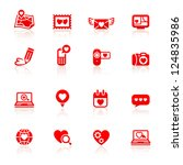 Set valentine's day red icons - stock vector