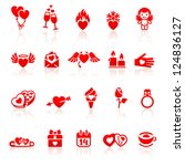 set valentine's day red icon | Shutterstock .eps vector #124836127