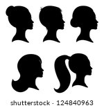 collection of woman silhouettes ... | Shutterstock .eps vector #124840963