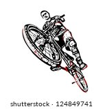 illustration of jumping biker - stock vector