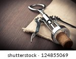 close up of metal corkscrew - stock photo