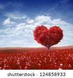 Stock photo tree in the shape of heart valentines day background 124858933