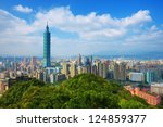 Small photo of Taipei, Taiwan skyline viewed during the day from Elephant Mountain.