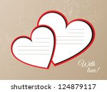 red hearts from paper... | Shutterstock .eps vector #124879117