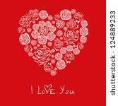 red valentine's day card with... | Shutterstock . vector #124889233