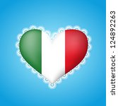 heart shape flag of italy with... | Shutterstock .eps vector #124892263