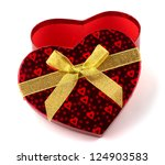 Heart shaped Valentines Day gift box on white background