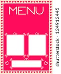Valentine's Menu Design With Heart Border - stock vector
