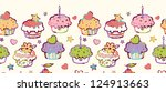 birthday muffins horizontal... | Shutterstock .eps vector #124913663