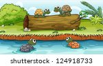 four turtles swimming on water... | Shutterstock .eps vector #124918733
