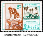 Small photo of LIBERIA - CIRCA 1957: a stamp printed in the Liberia shows Teacher and Pupil, Founding of the Antoinette Tubman Child Welfare Foundation, circa 1957
