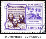 Small photo of LIBERIA - CIRCA 1957: a stamp printed in the Liberia shows Singing Boys and National Anthem, Founding of the Antoinette Tubman Child Welfare Foundation, circa 1957