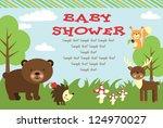 baby shower card design. forest ... | Shutterstock .eps vector #124970027